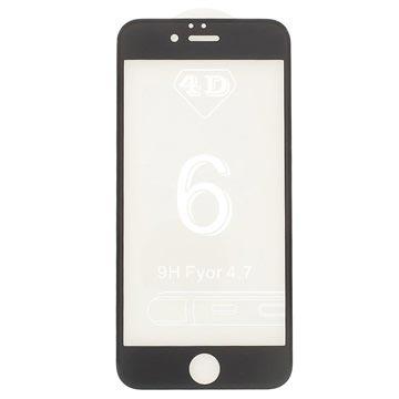iPhone 6/6S 4D Full Størrelse Skjermbeskytter i Herdet Glass - Svart