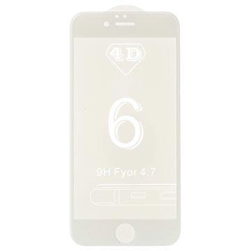 iPhone 6/6S 4D Full Størrelse Skjermbeskytter i Herdet Glass - Hvit