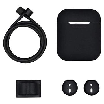 4-in-1 Apple AirPods Silikon Tilbehørssett - Svart