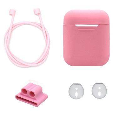 4-in-1 Apple AirPods Silikon Tilbehørssett - Rosa
