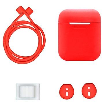 4-in-1 Apple AirPods Silikon Tilbehørssett - Rød
