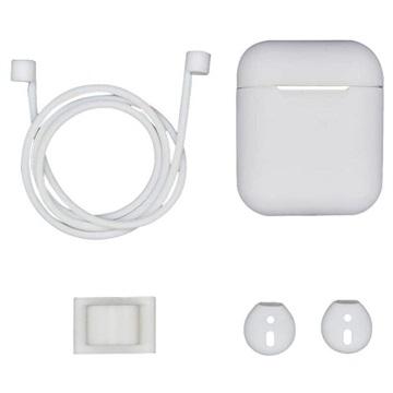 4-in-1 Apple AirPods Silikon Tilbehørssett - Hvit
