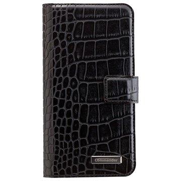 Samsung Galaxy S7 Edge Commander Book & Cover Veske - Croco Svart