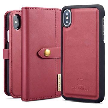 DG.Ming 2-in-1 iPhone X / iPhone XS Lommebok-deksel I Lær - Rød