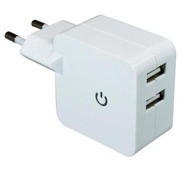 Dinic Dobbel USB Reiselader - Hvit