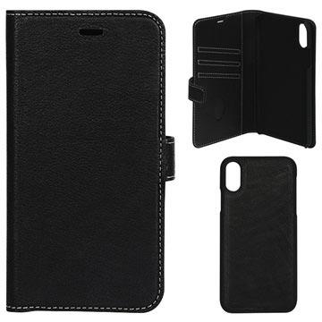 Essentials Avtakbart iPhone XS Max Lommebok-deksel I Skinn - Svart