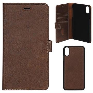 Essentials Avtakbart iPhone XS Max Lommebok-deksel I Skinn - Brun