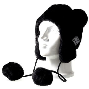 Fluffy Strikkelue med Trådløse hodetelefoner - Svart