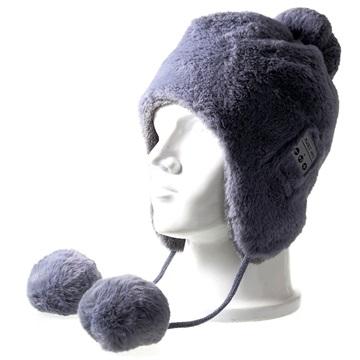 Fluffy Strikkelue med Trådløse hodetelefoner - Grå