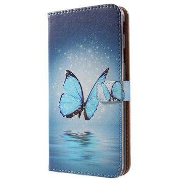Glam Series Samsung Galaxy J4+ Lommebok-deksel - Blå Sommerfugl