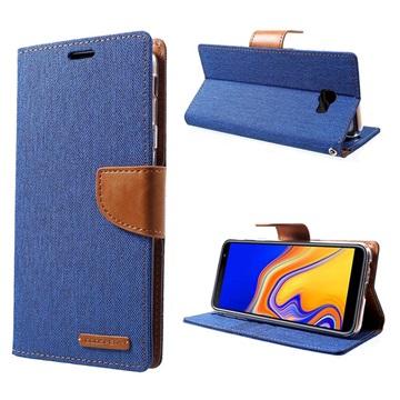 Mercury Goospery Canvas Diary Samsung Galaxy J4+ Lommebok-deksel - Blå