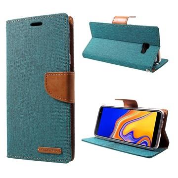 Mercury Goospery Canvas Diary Samsung Galaxy J4+ Lommebok-deksel - Grønn