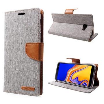Mercury Goospery Canvas Diary Samsung Galaxy J4+ Lommebok-deksel - Grå