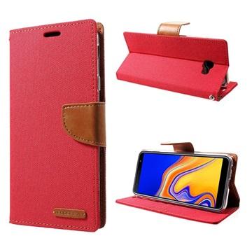 Mercury Goospery Canvas Diary Samsung Galaxy J4+ Lommebok-deksel - Rød