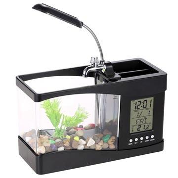 Mini Akvarium med LCD-klokke og LED-bordlampe - Svart