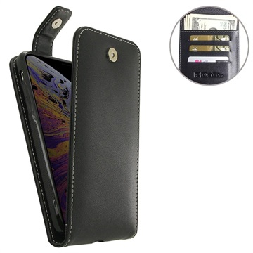 PDair Flip Top iPhone XS Max Lommebok-deksel I Skinn - Svart