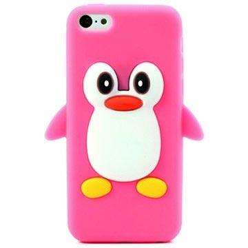 iPhone 5C 3D Penguin Silikondeksel - Varm Rosa