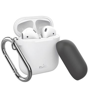 Puro Icon Airpods Silikondeksel med Karabinkroken - Hvit / Mørkgrå