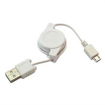 Uttrekkbar USB / microUSB Kabel - Hvit