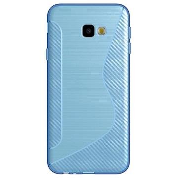 S-Line Samsung Galaxy J4+ TPU-deksel - Karbonfiber - Blå