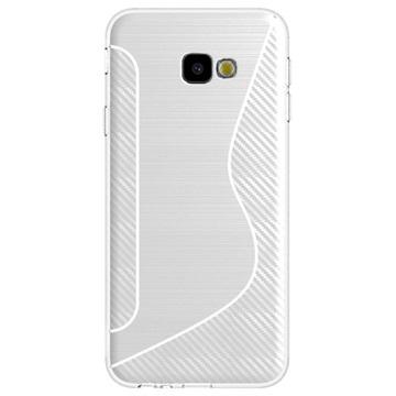 S-Line Samsung Galaxy J4+ TPU-deksel - Karbonfiber - Hvit