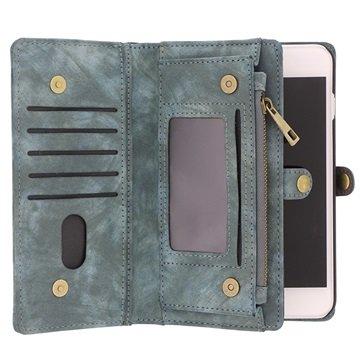 iPhone 7 Plus / 8 Plus Saii 2-i-1 Multifunksjonell Lommebok-deksel I Lær - Blå