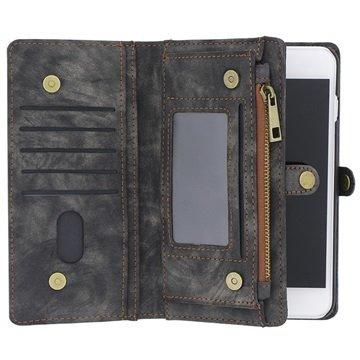 iPhone 7 Plus / 8 Plus Saii 2-i-1 Multifunksjonell Lommebok-deksel I Lær - Grå