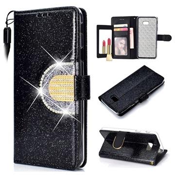 Samsung Galaxy J4+ Glitter Lommebok-deksel med speil - Svart