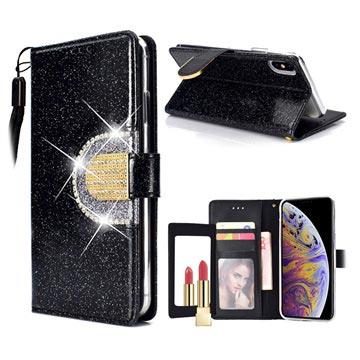 iPhone XS Max Glitter Lommebok-deksel med speil- Svart