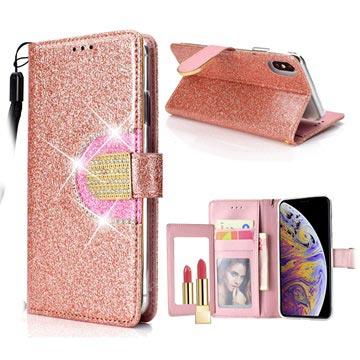 iPhone XS Max Glitter Lommebok-deksel med speil - Roségull