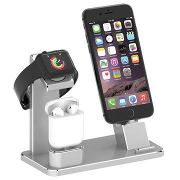 Bilde av 3-i-1 Ladestativ HJZJ001 - iPhone, Apple Watch, AirPods - Sølv