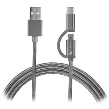 Bilde av 4smarts Combocord Fabric Microusb %26 Type-c Kabel - 1m - Grå