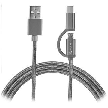 Bilde av 4smarts Combocord Fabric Microusb %26 Type-c Kabel - 2m - Grå