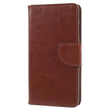 Huawei P10 Lite klassisk lommebok-deksel med kortholdere - brun