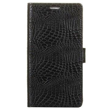 Huawei P10 Krokodille Lommebok-deksel - Svart