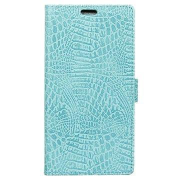 Huawei P10 Krokodille Lommebok-deksel - Cyan