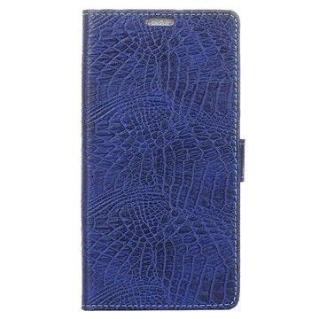 Huawei P10 Krokodille Lommebok-deksel - Mørkeblå