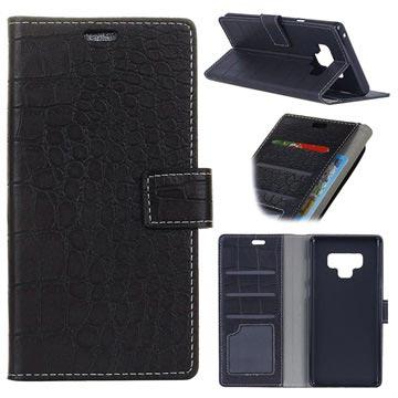 Krokodille Series Samsung Galaxy Note9 Lommebok-deksel - Svart