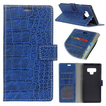 Krokodille Series Samsung Galaxy Note9 Lommebok-deksel - Blå