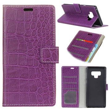 Krokodille Series Samsung Galaxy Note9 Lommebok-deksel - Lilla