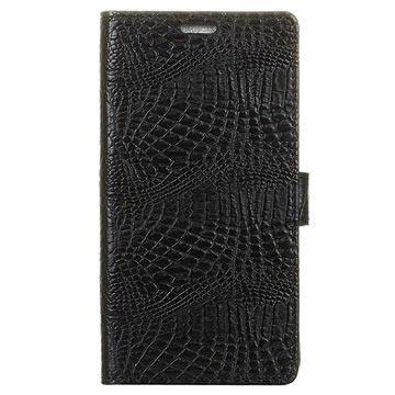 Samsung Galaxy Xcover 4 Krokodille Lommebok-deksel - Svart