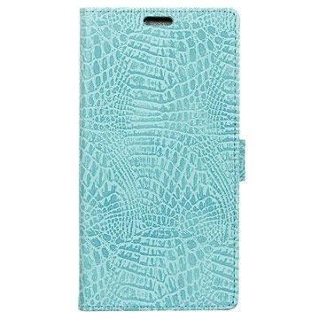 Samsung Galaxy Xcover 4 Krokodille Lommebok-deksel - Cyan
