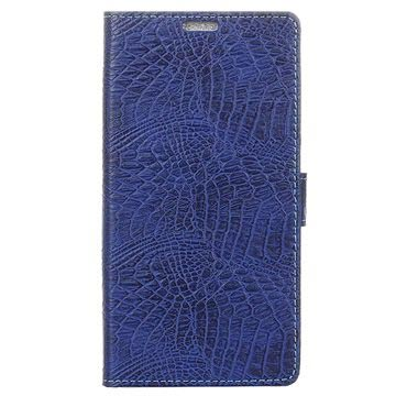 Samsung Galaxy Xcover 4 Krokodille Lommebok-deksel - Mørkeblå
