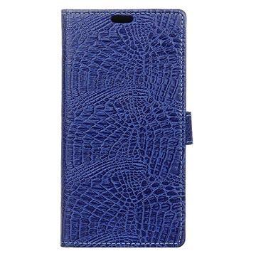 Sony Xperia X Compact Krokodille Lommebok-deksel - Mørkeblå