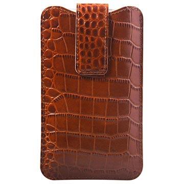 iPhone 6/6S/7/8 Plus Doormoon Lær Mobilfutteral - Krokodille - Brun