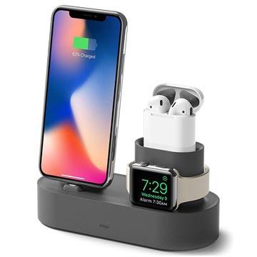 Elago Trio Ladestativ - iPhone, Apple Watch, AirPods - Mørkgrå