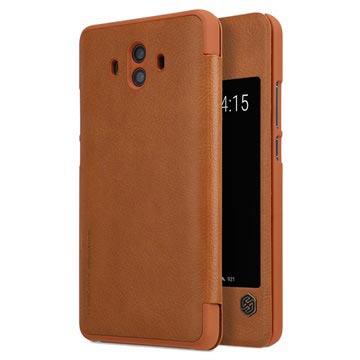 Huawei Mate 10 Nillkin Qin Smart View Flip-deksel - Brun