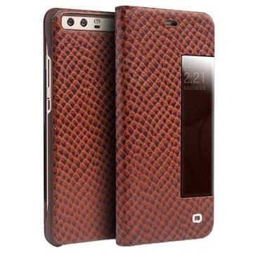 Huawei P10 Plus Qialino Dragon Smart View Flip-læretui - Brun