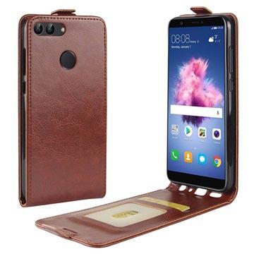 Huawei P Smart Vertikalt Flip-deksel med Kortluke - Brun
