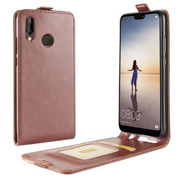 Huawei P20 Lite Vertikalt Flip-deksel med Kortluke - Brun